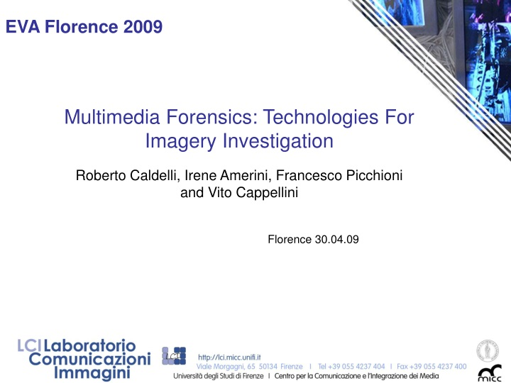 multimedia forensics technologies for imagery investigation n.