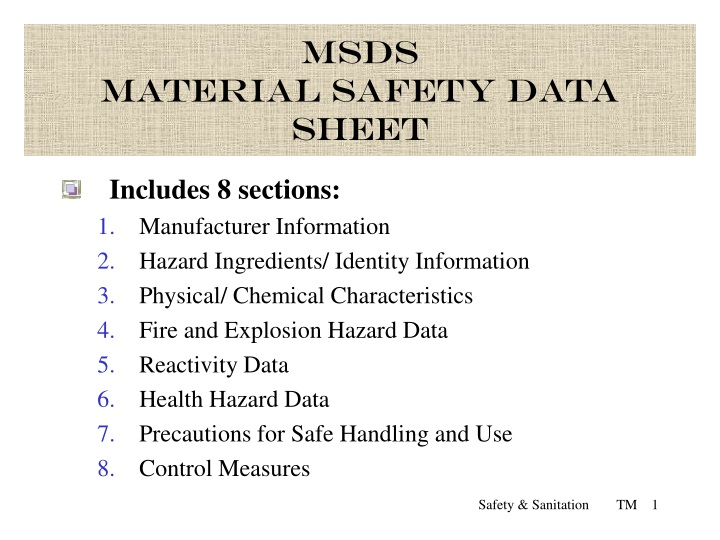 msds material safety data sheet n.