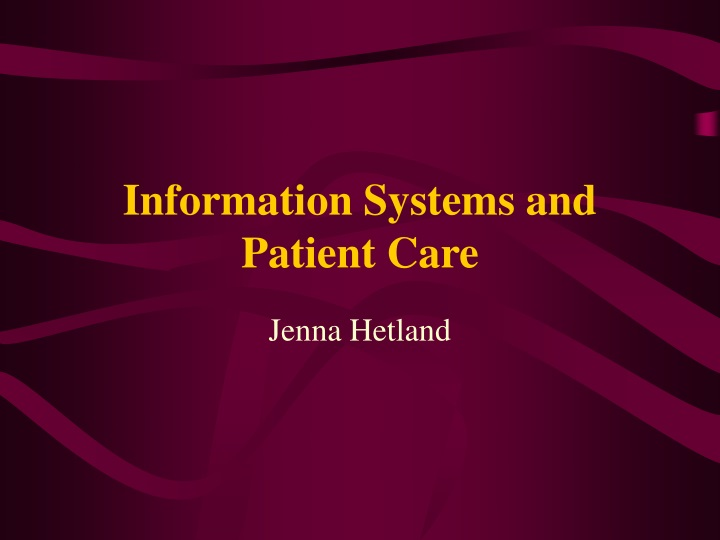 information systems and patient care n.
