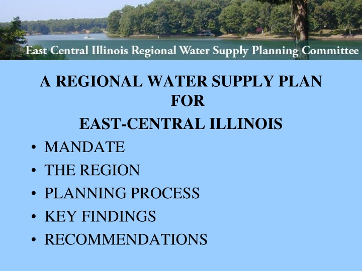 a regional water supply plan for east central n.