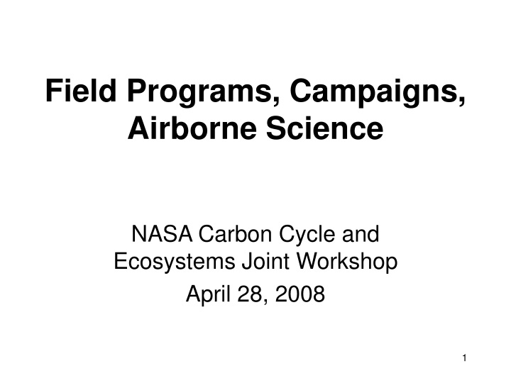 field programs campaigns airborne science n.