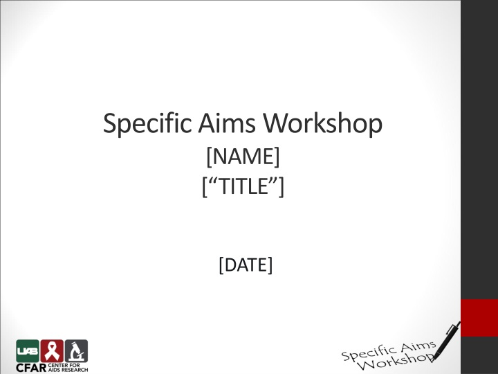 specific aims workshop name title n.