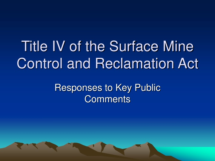 title iv of the surface mine control and reclamation act n.