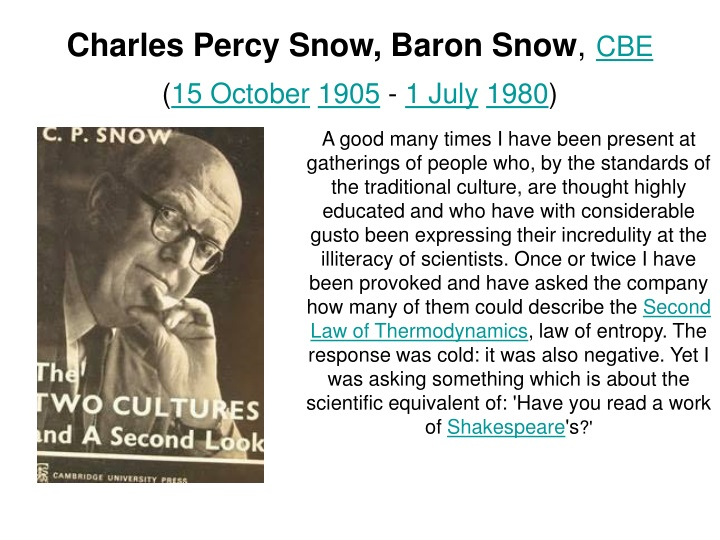 charles percy snow baron snow cbe 15 october 1905 1 july 1980 n.