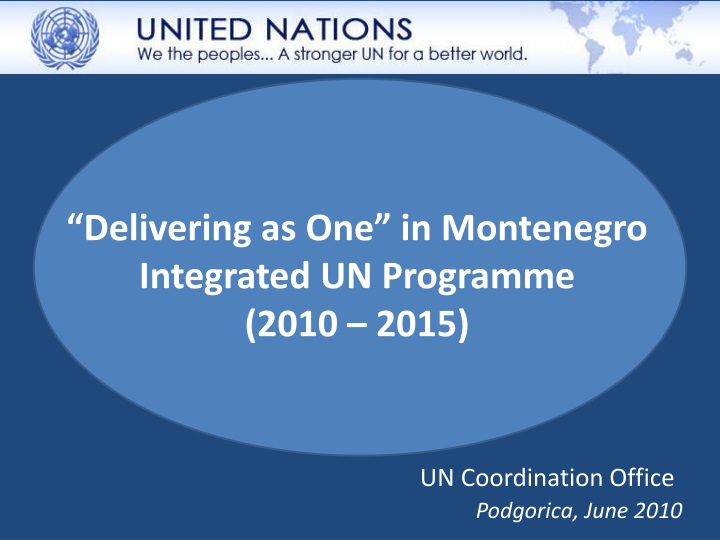 delivering as one in montenegro integrated un programme 2010 2015 n.