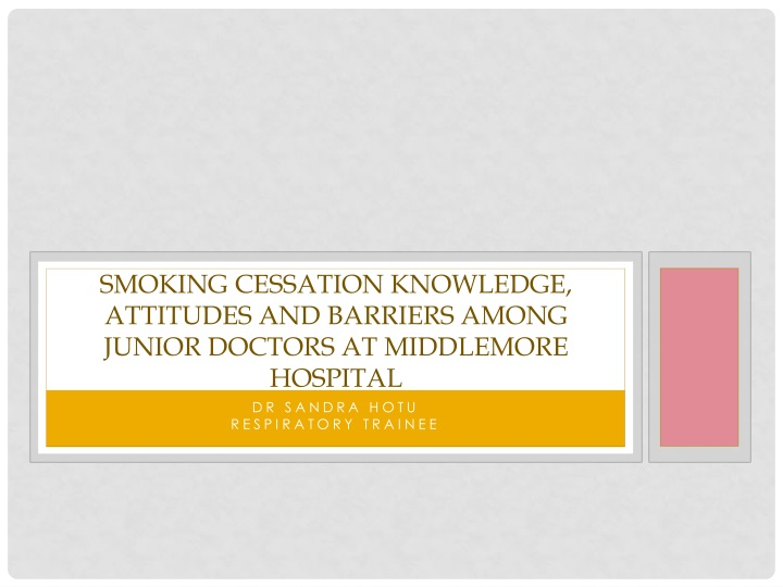 smoking cessation knowledge attitudes and barriers among junior doctors at middlemore hospital n.