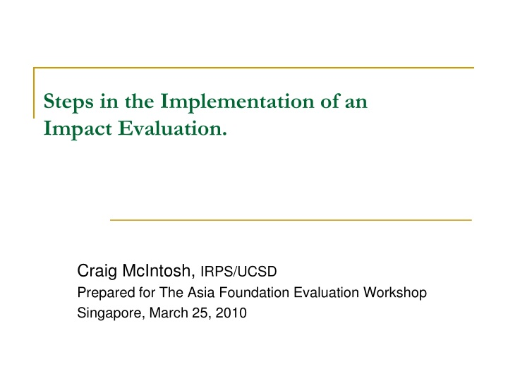 steps in the implementation of an impact evaluation n.