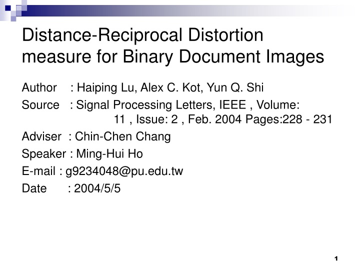 distance reciprocal distortion measure for binary document images n.