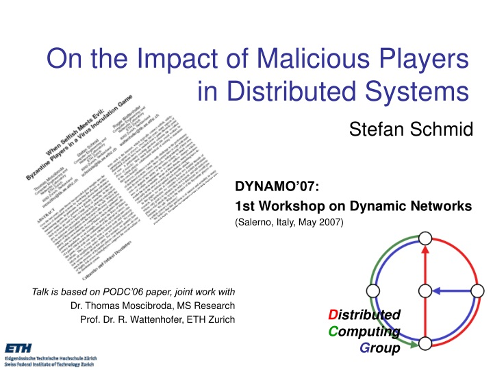 on the impact of malicious players in distributed systems n.