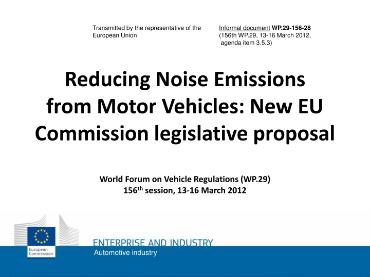 reducing noise emissions from motor vehicles n.