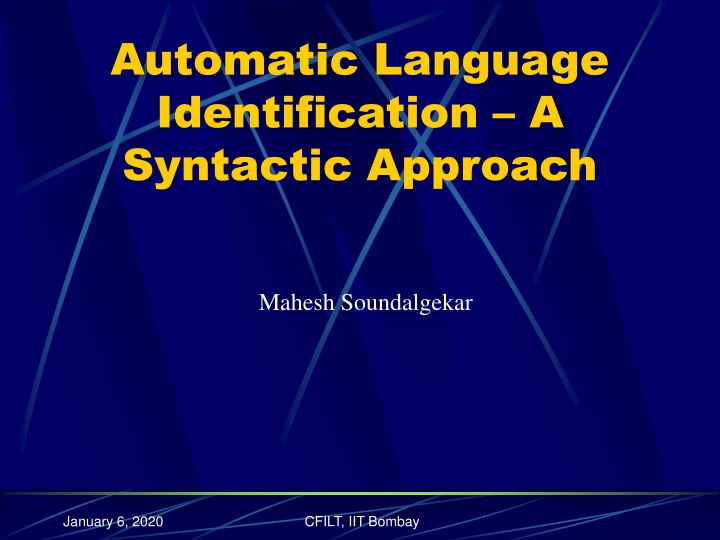 automatic language identification a syntactic approach n.