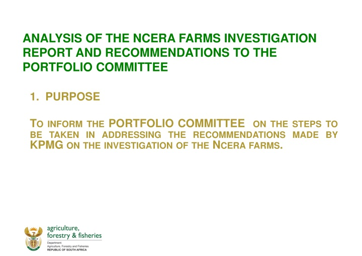 analysis of the ncera farms investigation report and recommendations to the portfolio committee n.