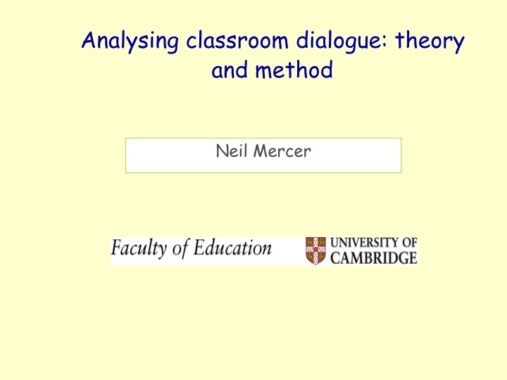 analysing classroom dialogue theory and method n.