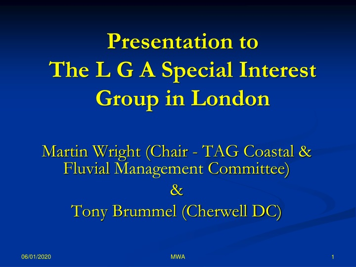 presentation to the l g a special interest group in london n.
