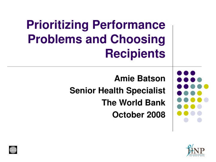 prioritizing performance problems and choosing recipients n.