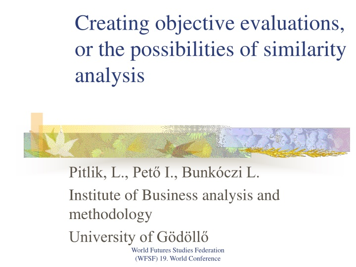 creating objective evaluations or the possibilities of similarity analysis n.