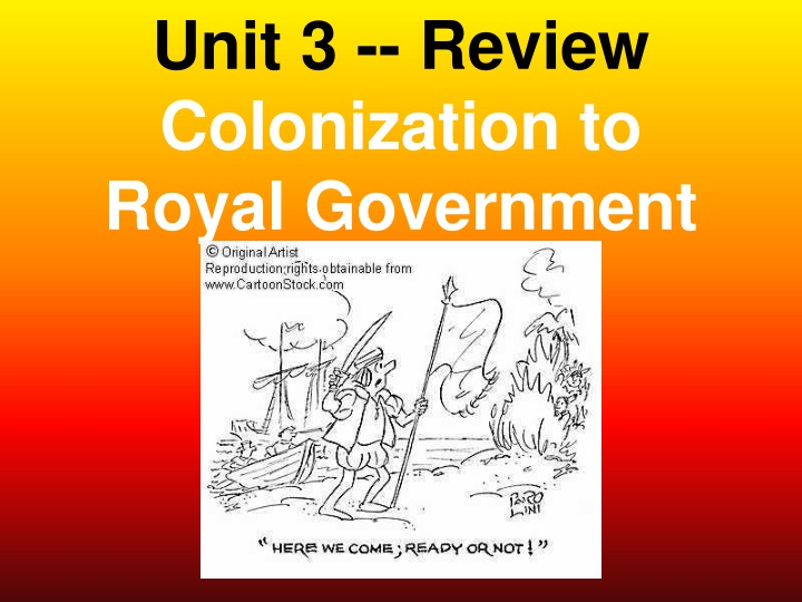 unit 3 review colonization to royal government n.
