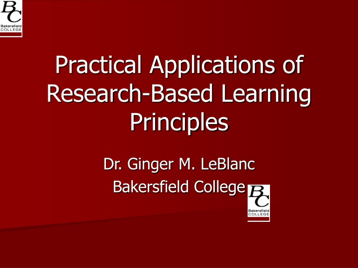 practical applications of research based learning principles n.
