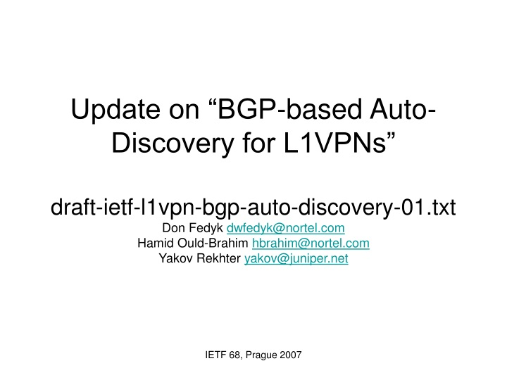 update on bgp based auto discovery for l1vpns n.