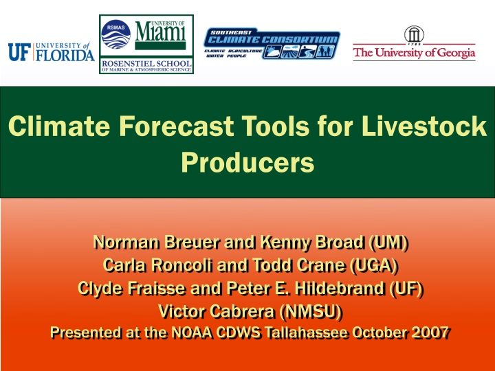 climate forecast tools for livestock producers n.