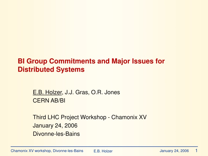 bi group commitments and major issues for distributed systems n.