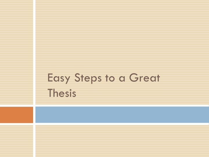 easy steps to a great thesis n.