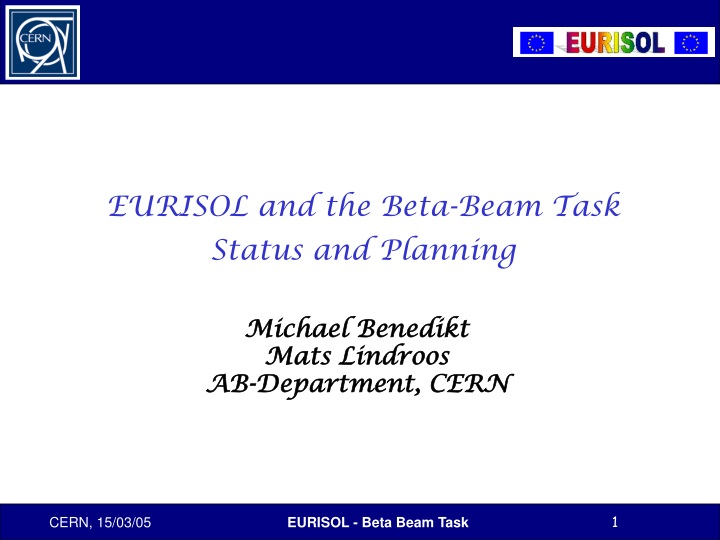 eurisol and the beta beam task status and planning n.