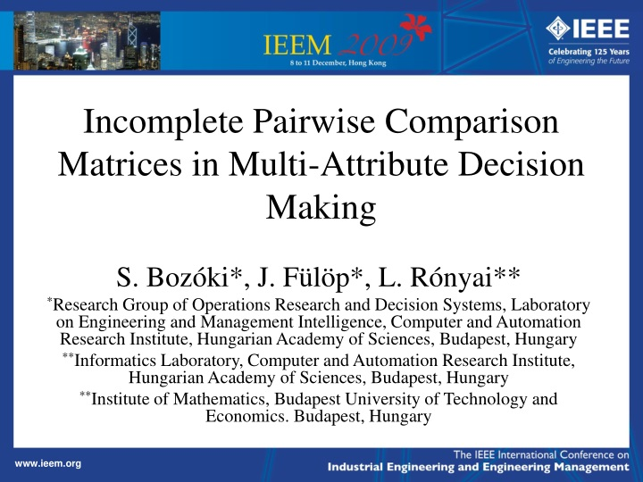 incomplete pairwise comparison matrices in multi attribute decision making n.