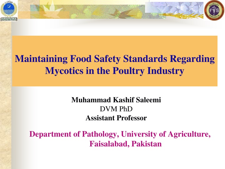 maintaining food safety standards regarding mycotics in the poultry industry n.