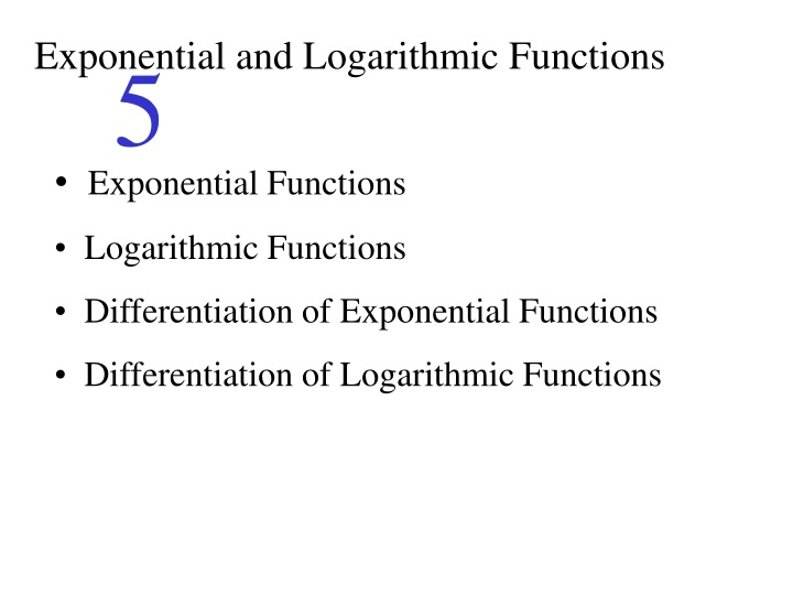 exponential and logarithmic functions n.