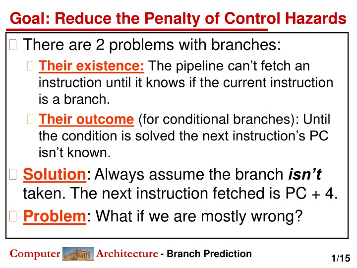 goal reduce the penalty of control hazards n.