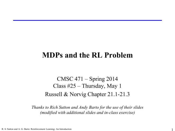mdps and the rl problem n.
