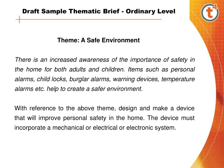 draft sample thematic brief ordinary level n.