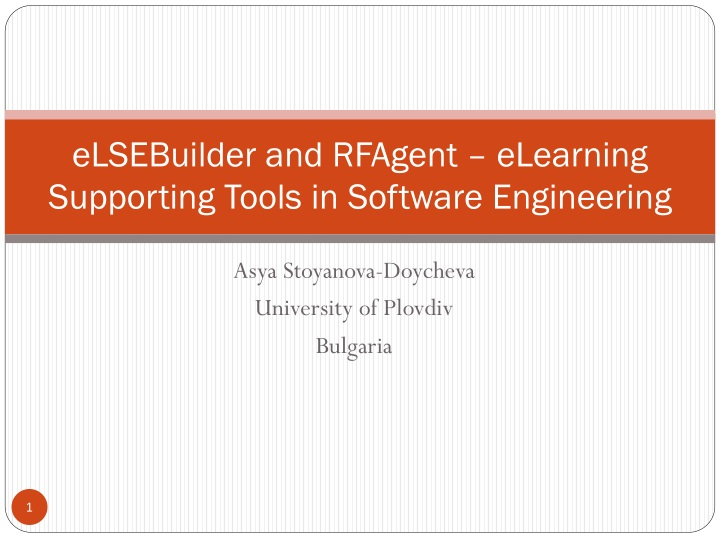 elsebuilder and rfagent elearning supporting tools in software engineering n.