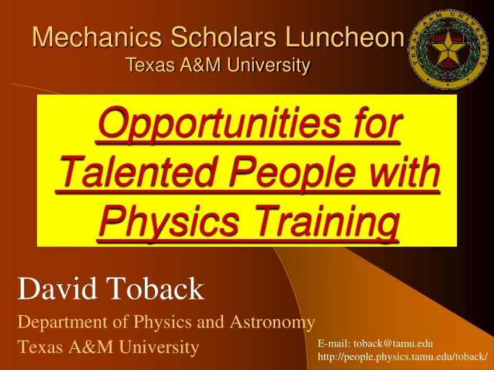 opportunities for talented people with physics training n.