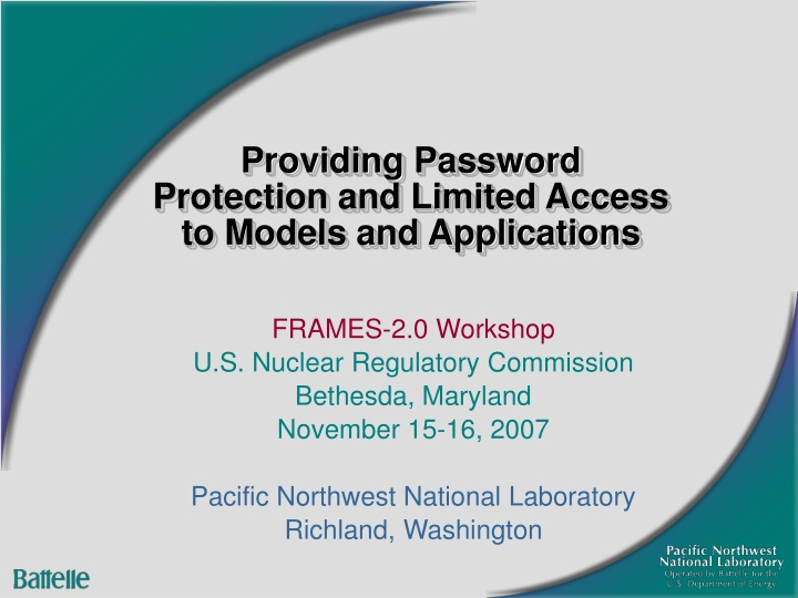 providing password protection and limited access to models and applications n.
