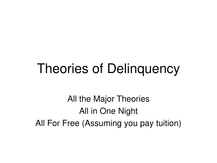 theories of delinquency n.