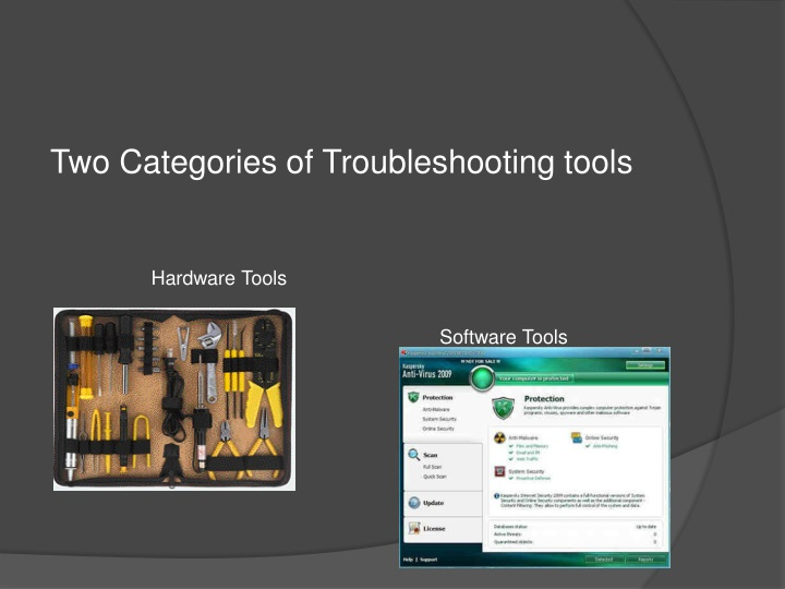 two categories of troubleshooting tools n.