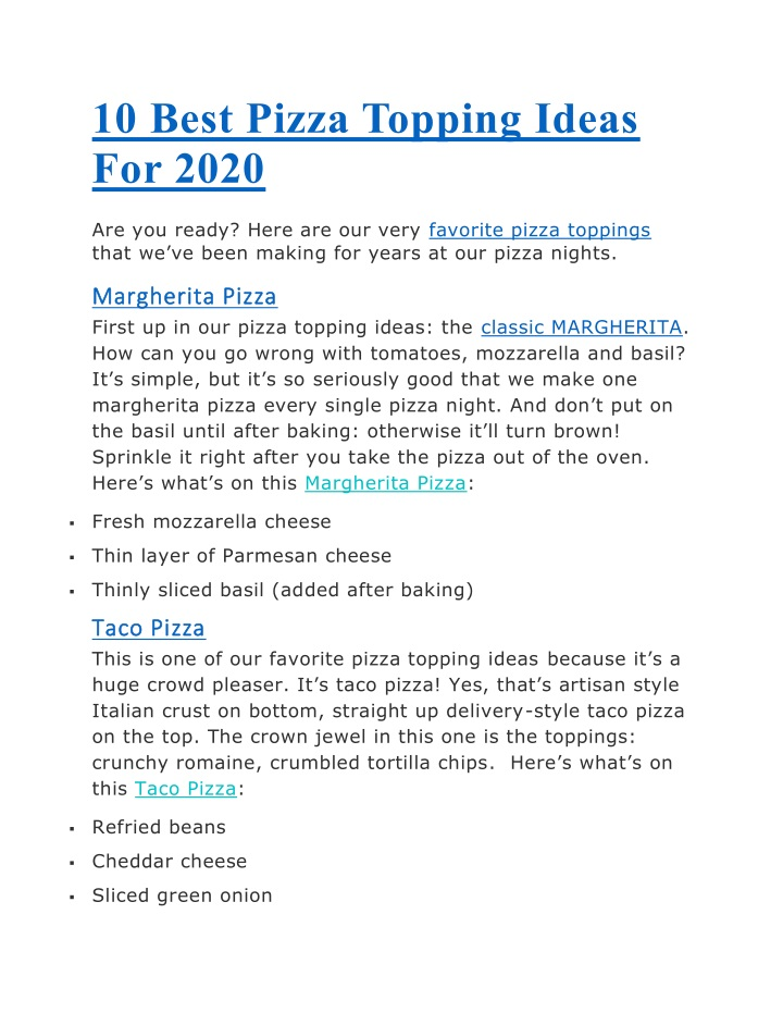 10 best pizza topping ideas for 2020 n.