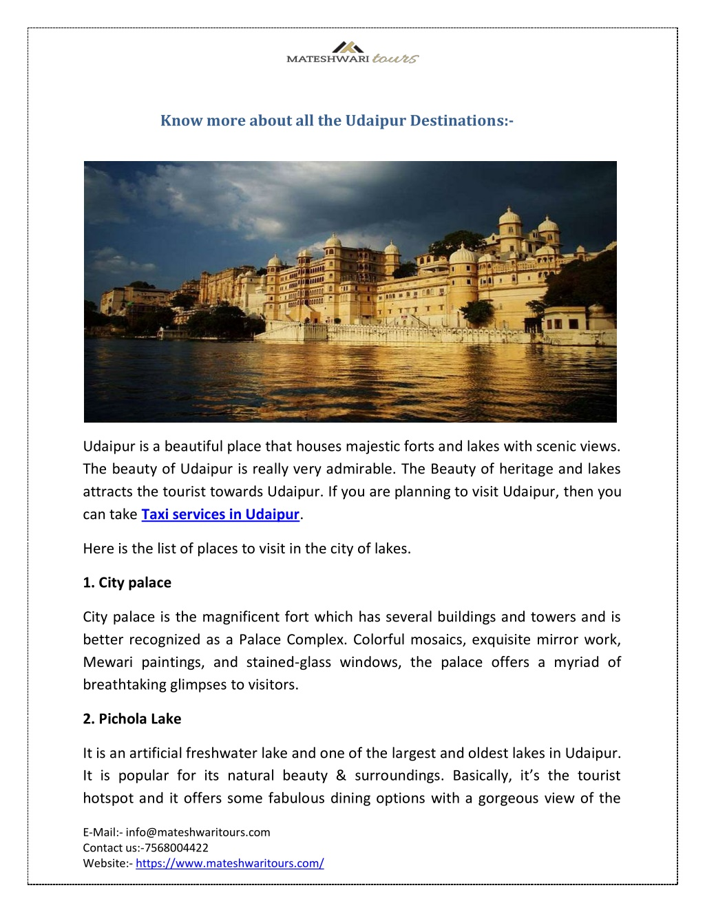 know more about all the udaipur destinations l.
