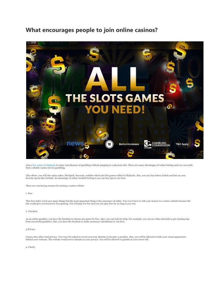 what encourages people to join online casinos n.