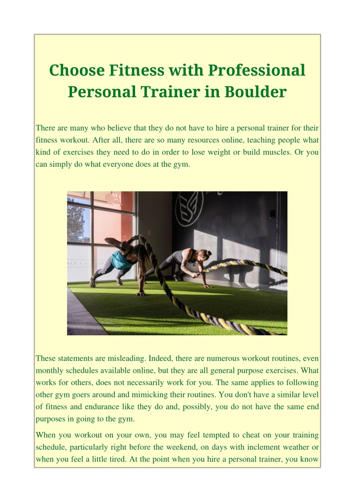 choose fitness with professional personal trainer n.