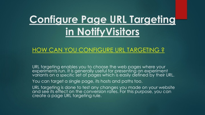 configure page url targeting in notifyvisitors n.