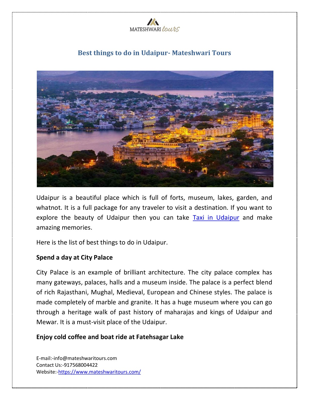 best things to do in udaipur mateshwari tours l.