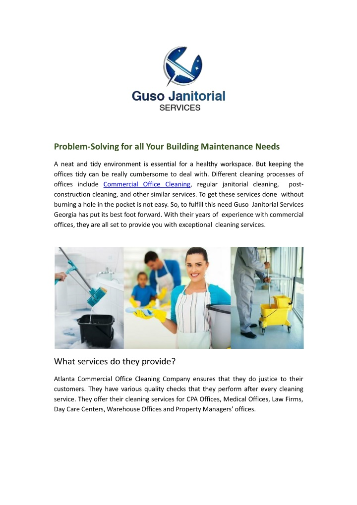 problem solving for all your building maintenance n.