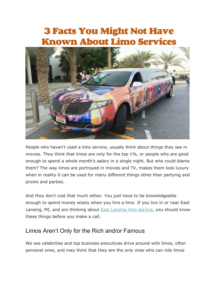 3 facts you might not have known about limo n.