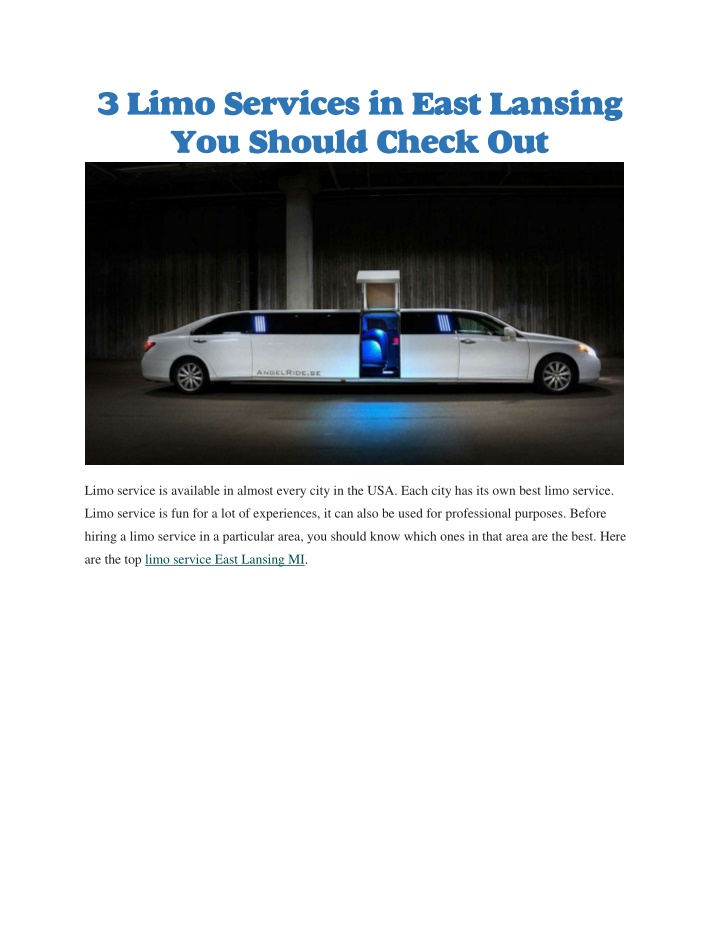 3 limo services in east lansing you should check n.