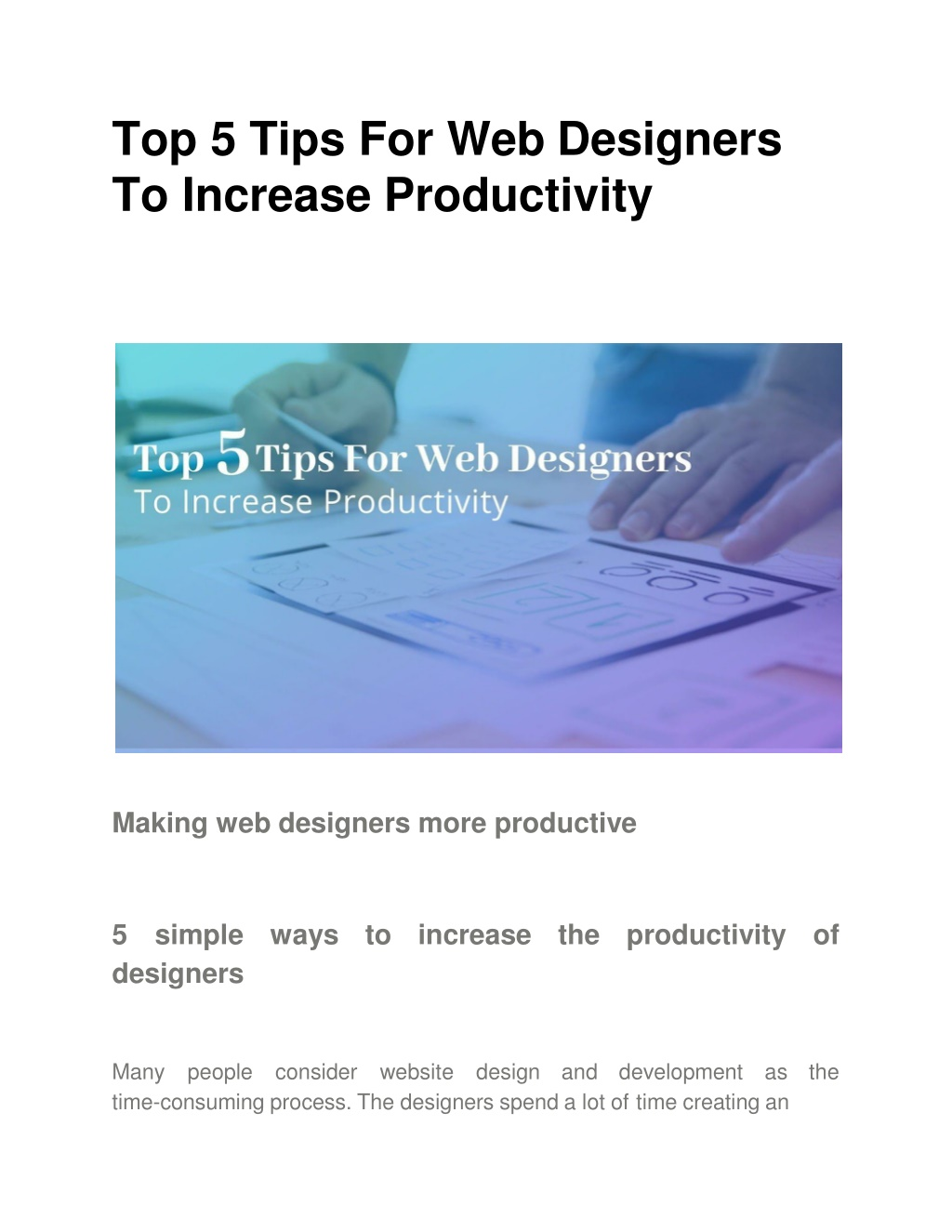 top 5 tips for web designers to increase productivity l.