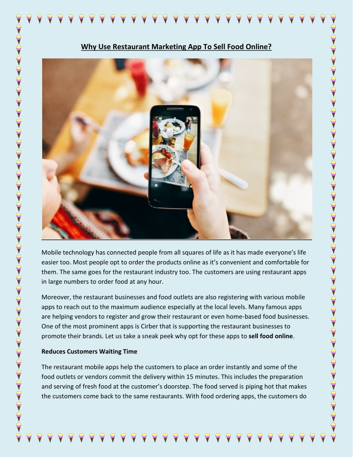 why use restaurant marketing app to sell food n.