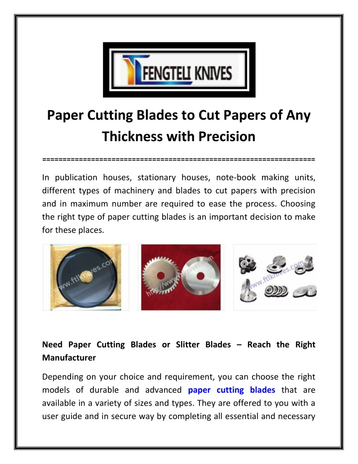 paper cutting blades to cut papers n.